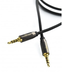 POWERTECH Kαλώδιο Jack 3.5mm M-M, 4 pin, metal, copper, 1m, μαύρο