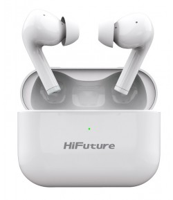 HIFUTURE earphones TrueAir ANC, true wireless, με θήκη φόρτισης, λευκά