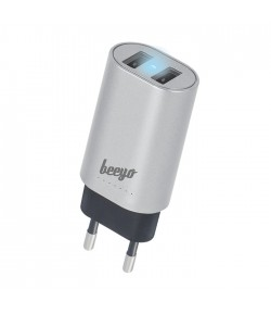 Beeyo travel charger 3,4A silver DOUBLE USB WALL CHARGER